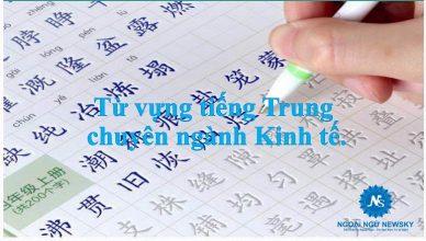 Từ vựng tiếng Trung chuyên ngành Kinh tế.